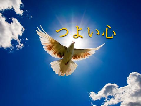 白い雲が浮かぶ青空に太陽を浴びて羽ばたく白い鳩鳩の写真