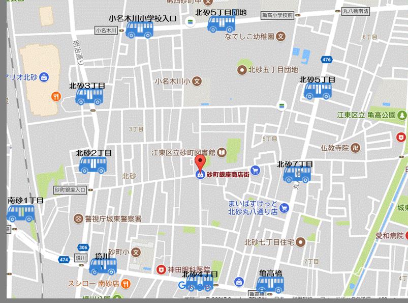 砂町銀座商店街周辺のバス停を表示した地図