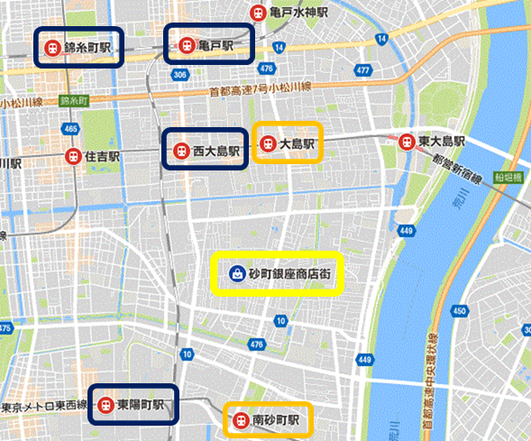 砂町銀座商店街へバス乗り換えができる最寄り駅の地図