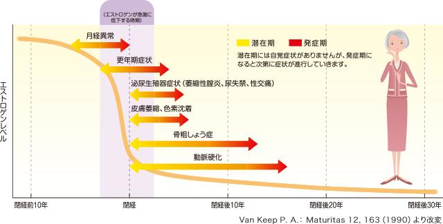 閉経後の年数とエストロゲンの低下のグラフに症状と障害が矢印で書き加えられている図