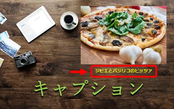 机の上にピザの写真とキャプションのある写真