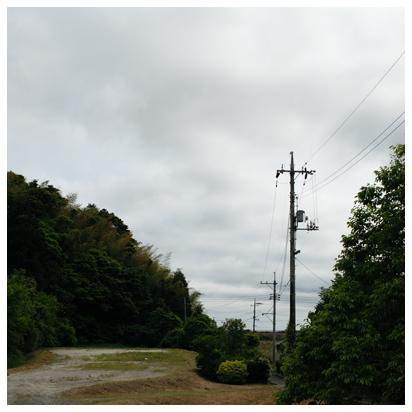 曇り空と電信柱