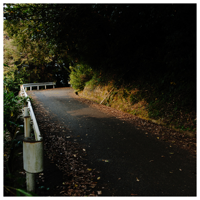 夕暮れの坂道 カーブの向こう