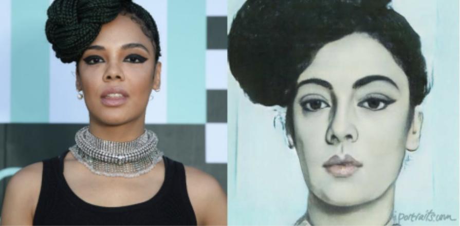 黒人女性の写真をAIによって絵画に変更するときに肌の色が変わってしまう例。
