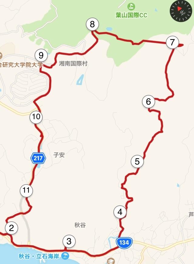 大楠山1周コースの地図