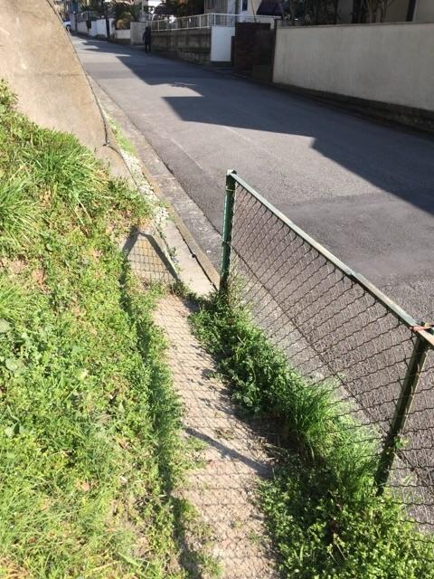 フェンスを出たら住宅地の道路