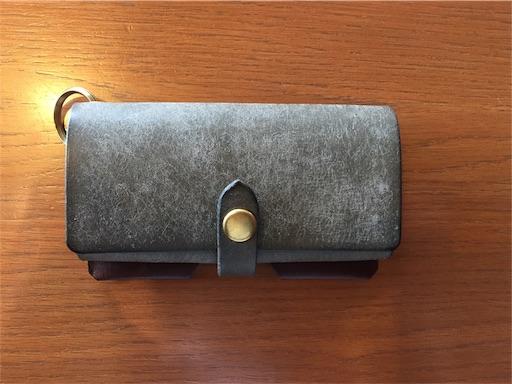 購入時(0ヵ月)のSafujiのキー付きミニ財布