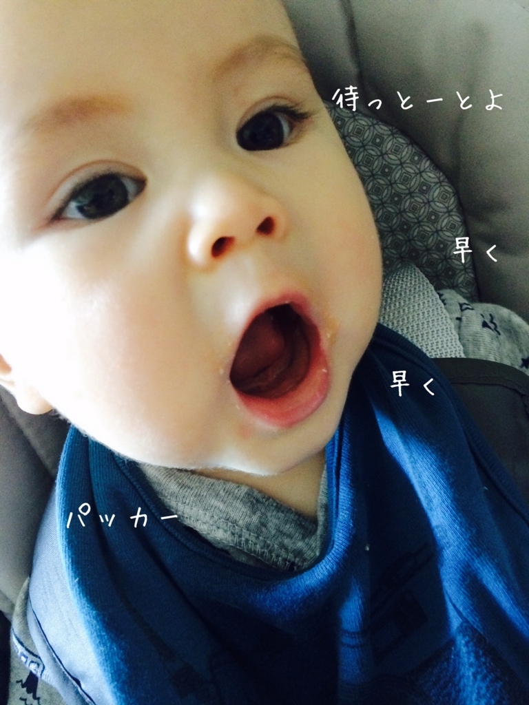 口をぱかっと大開にして離乳食を待つ赤ちゃん