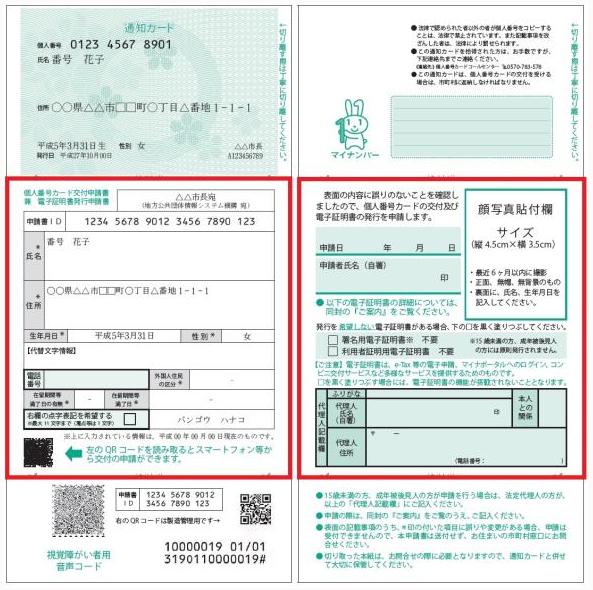 マイナンバー通知カード・個人番号カード交付申請書
