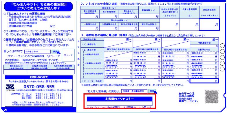 ねんきん定期便イメージ図(アクセスキー)