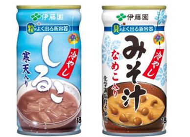 業界初!飲みやすい容器を採用した「冷やししるこ」「冷やしみそ汁」が発売