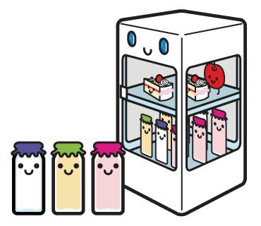 LINEスタンプ 牛乳 冷蔵庫