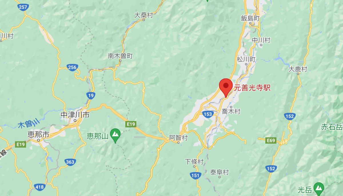 長野県松本駅の路線図。中津川近くの元善光寺駅。
