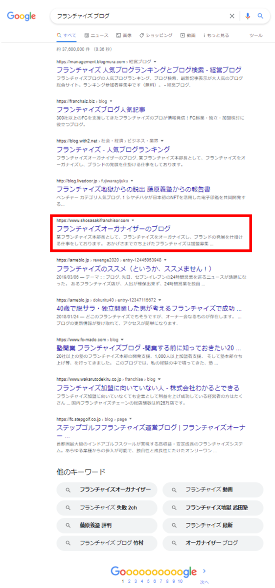 Google・フランチャイズブログ検索結果