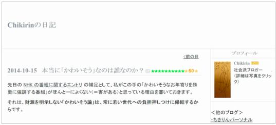 Chikirin氏のブログ
