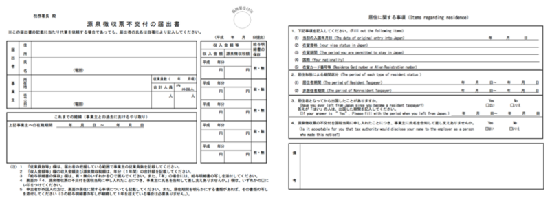 源泉徴収票不交付の届出書