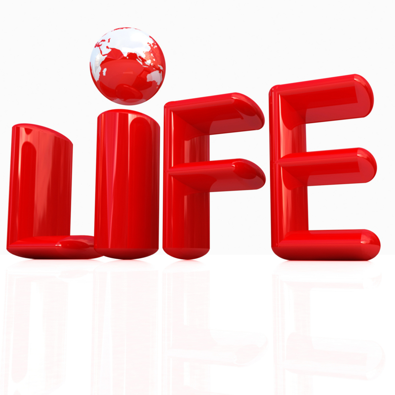 "3d red text ""life"""