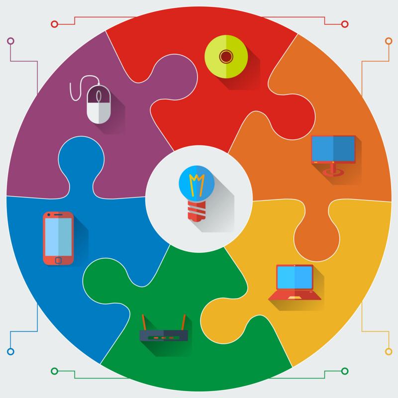 Infographics report templates in a circular puzzle elements. Vec