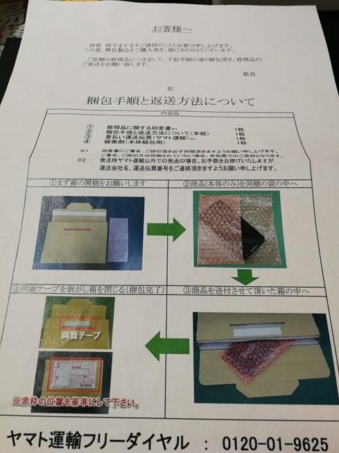 梱包手順と返送方法