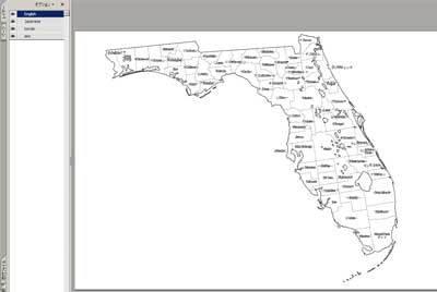 フロリダ州のPDF白地図