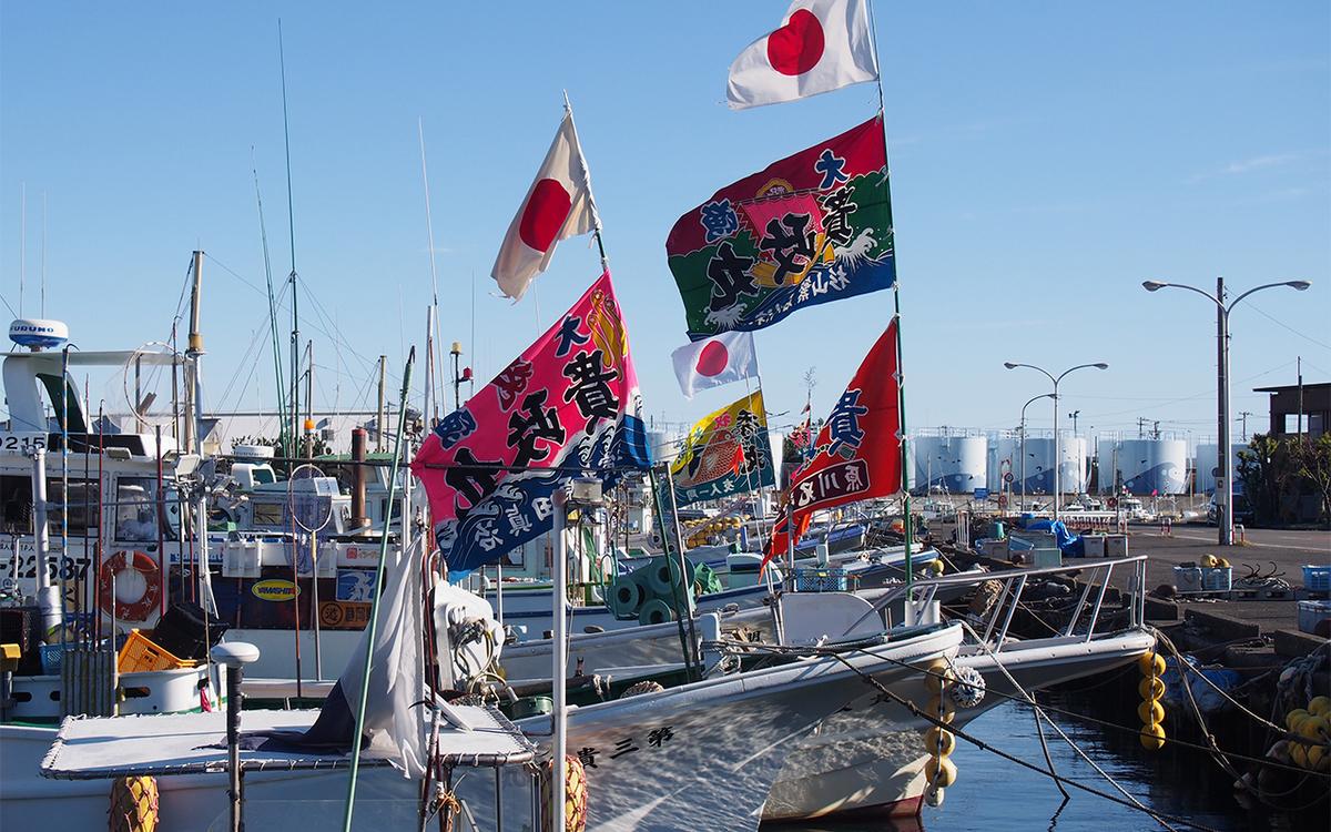 焼津港、お正月の大漁旗