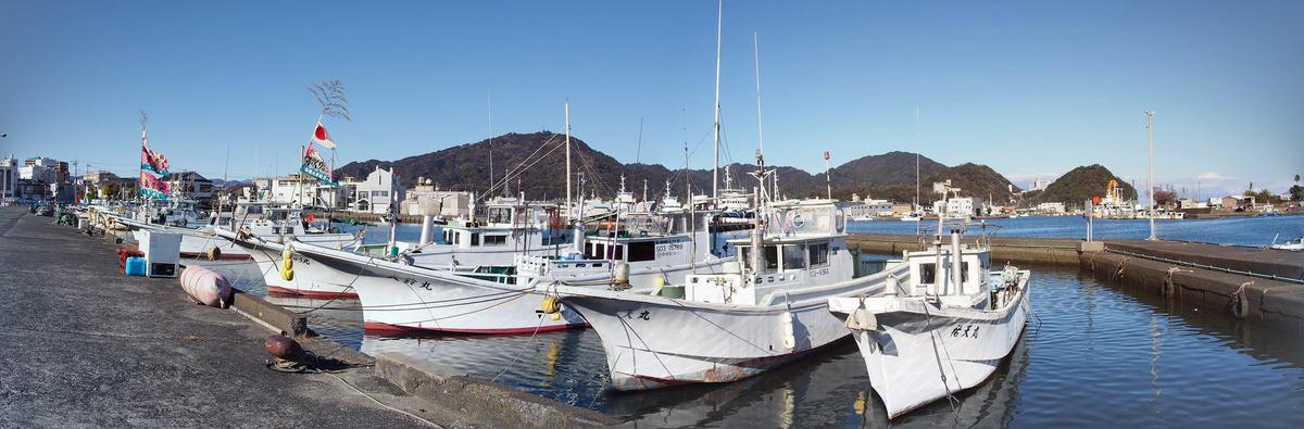 焼津港、お正月の船溜まり、パノラマ
