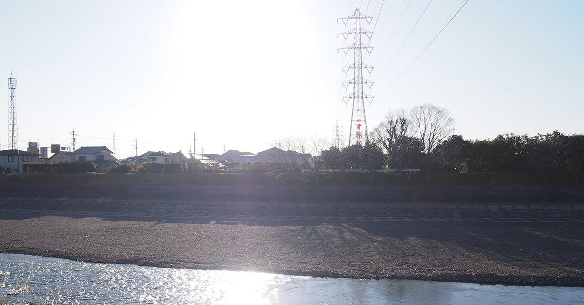 朝比奈川堤防上、送電鉄塔