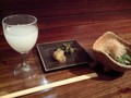 [酒][日本酒] 獺祭 発泡濁りと芹のお浸し 風音@目黒にて
