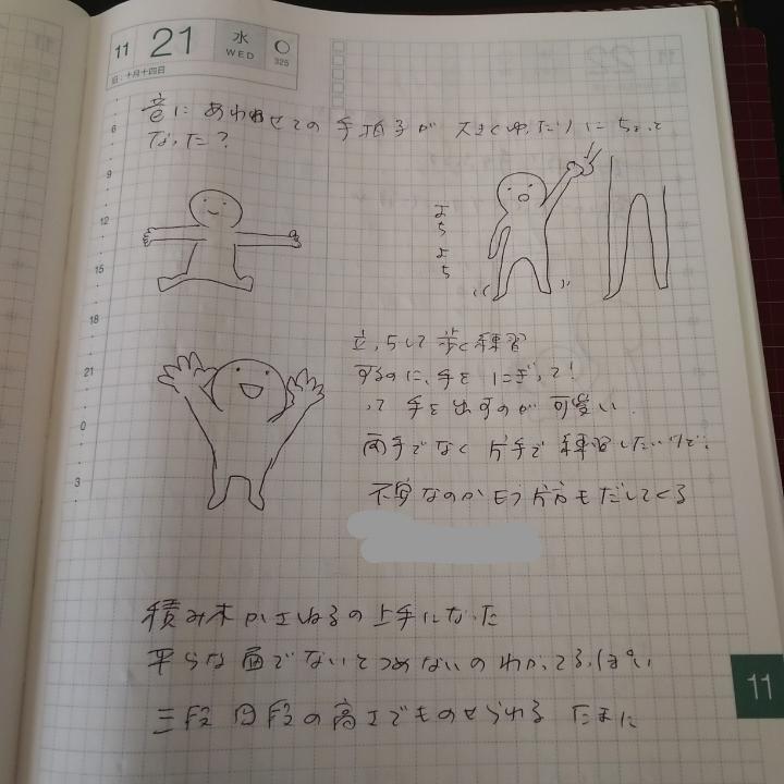 ほぼ日手帳カズンのウィークリーページに書かれた育児絵日記