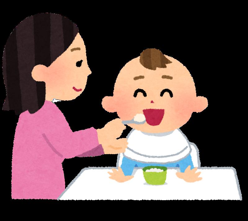 赤ちゃんと離乳食を与えるお母さんのイラスト