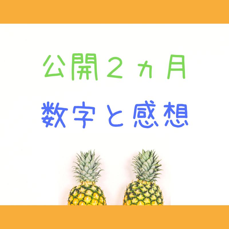 公開2カ月数字と感想の文字と、二つのパイナップル