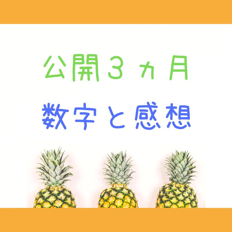 「公開3ヵ月数字と感想」の文字と3つのパイナップル