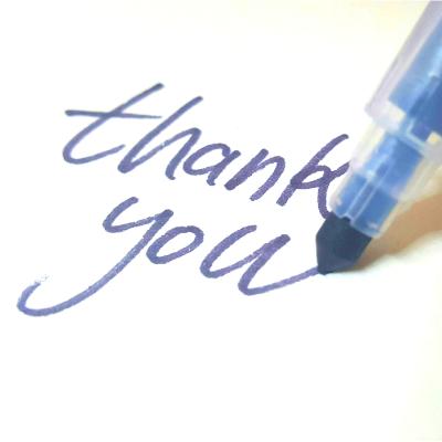 「thank you」の文字と、青いペン