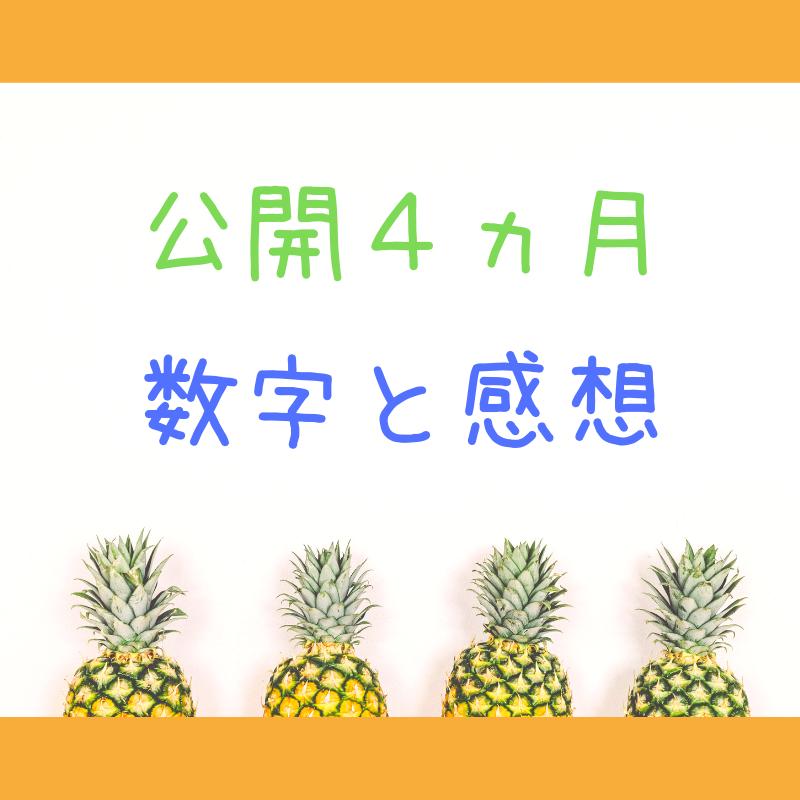 「公開4ヵ月数字と感想」の文字と4つのパイナップル