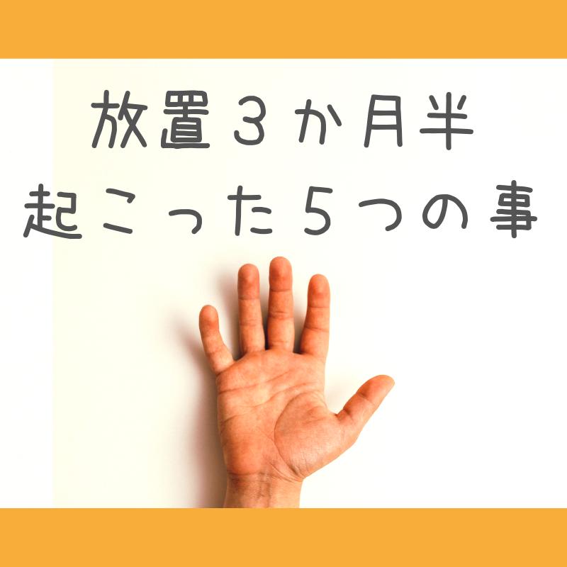 「放置三カ月半起こった5つの事」の文章と手のひらの写真