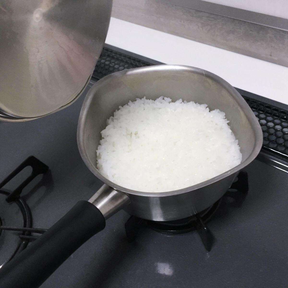 柳宗理のミルクパンでご飯を炊く
