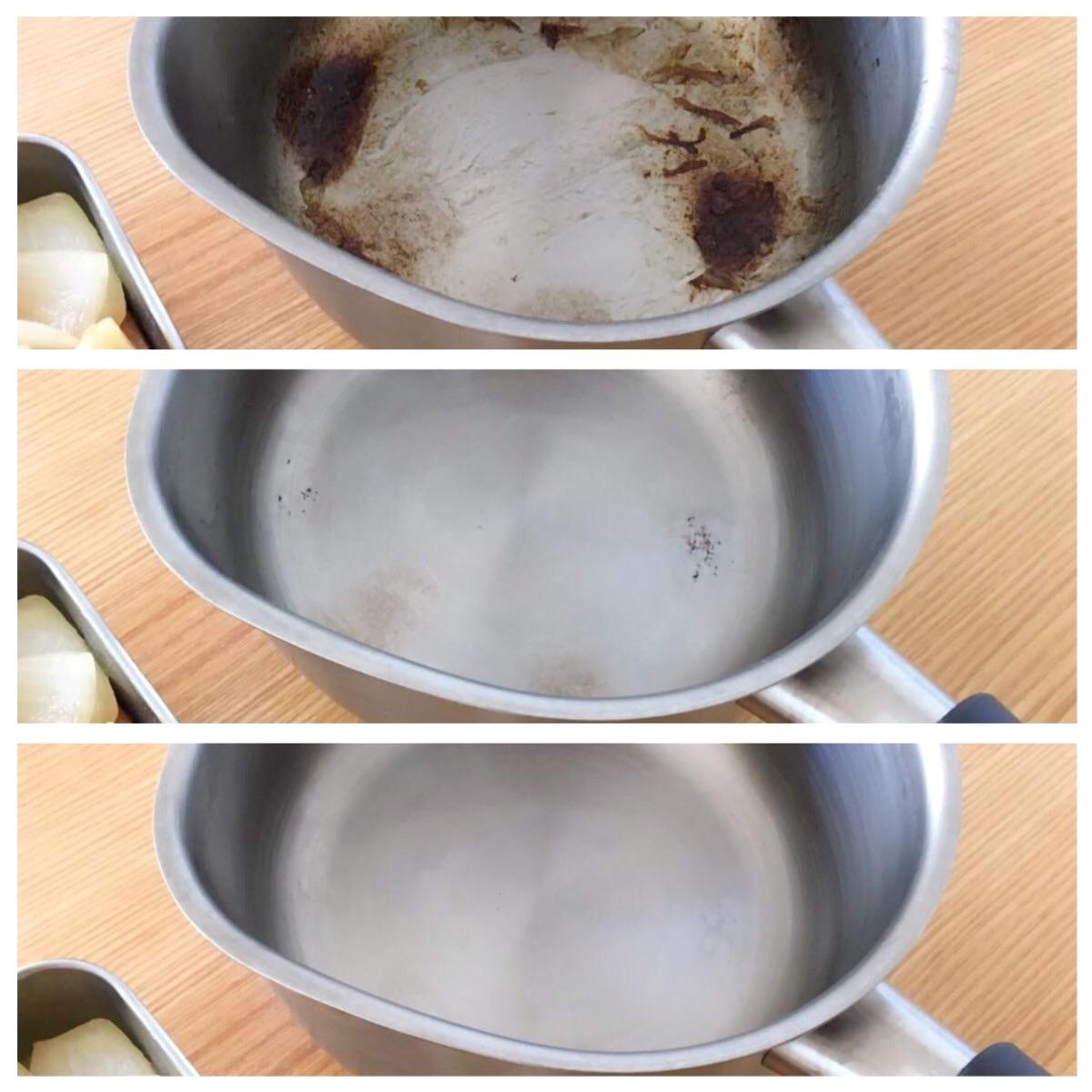ステンレスの鍋は重曹で簡単に輝きを取り戻す