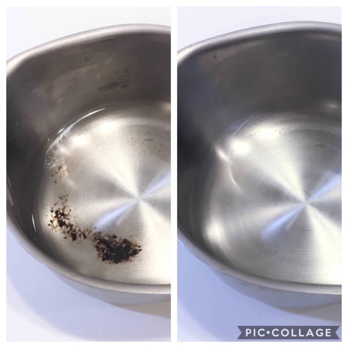ステンレスの鍋は焦げ付いても重曹で元通り