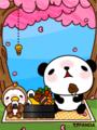 パンダと小鳥(お花見)