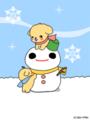 いぬと雪だるま