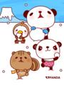 パンダとりすと小鳥(雪遊び)