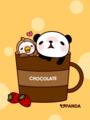 パンダと小鳥(チョコレートドリンク)