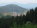 森合峠中腹から見る金山中心部の図