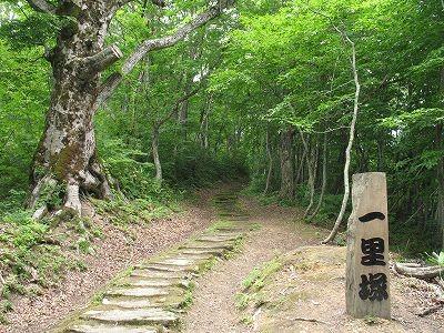 黒沢峠一里塚の敷石道