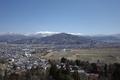 展望デッキから見る上山と蔵王の図