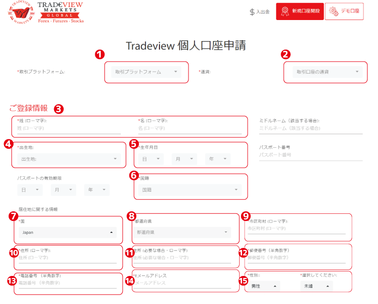 Tradeview 個人口座申請ご登録情報
