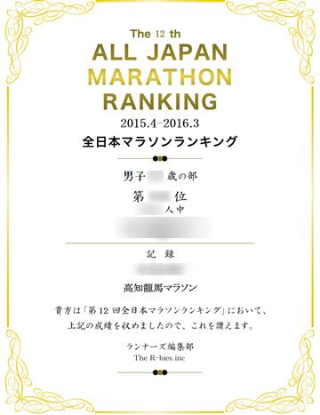 全日本マラソンランキングの記録証の表示例