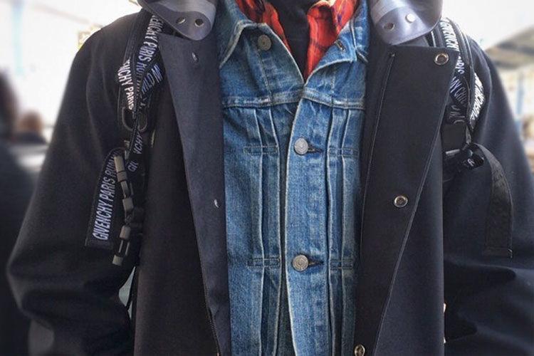 DESCENTEのコートのインナーにデニムジャケットを着てみました