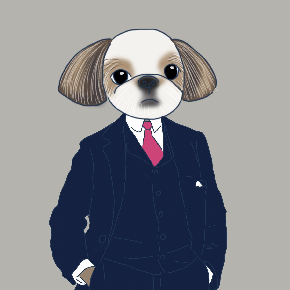 シーズー 犬 イラスト スーツ