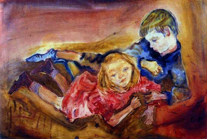 オスカー・ココシュカ『遊んでいる子供たち』(1909) Oskar Kokoschka -Spielende